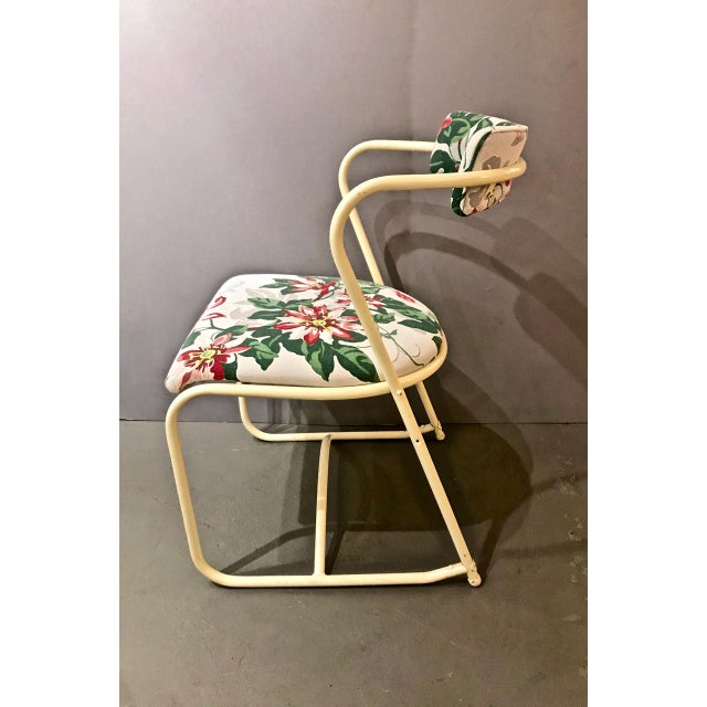 Pair 1940's Painted Steel and Bark Cloth Side Chairs For Sale - Image 4 of 7