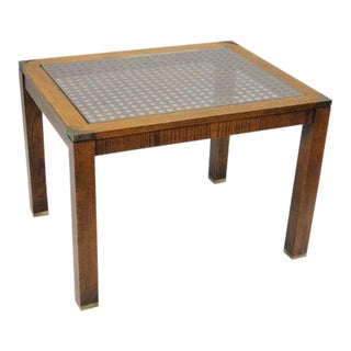 Brandt Campaign Style Cane End Table Wood Brass Glass Rectangular Vintage Parsons