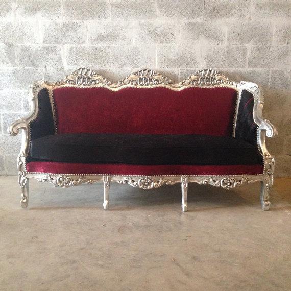 Red & BlackVelvet Baroque Sofa - Image 2 of 8