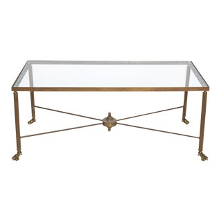 20th Century Brass Cocktail Table With Claw Feet and Glass Top For Sale