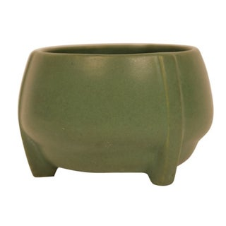 Matte Green Art Pottery Buttress Vase For Sale