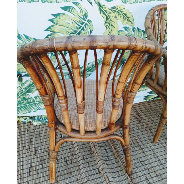 Vintage Coastal Regency Bamboo Side Chairs Wheat Upholstered Seats -A Pair For Sale In West Palm - Image 6 of 12