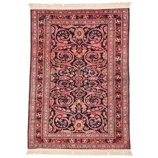 "Antique Persian Lilihan Pink and Blue Entry / Foyer Rug - 3'6"" X 5' For Sale"