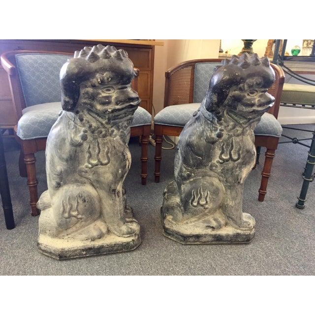 Stunning and substantial pair of foo dog statues! Concrete rotten stone rubbed sculptures.