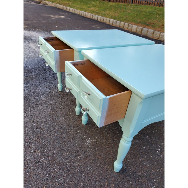 1950s Boho Chic Mersman Solid Wood Bedside Tables - a Pair For Sale - Image 11 of 12