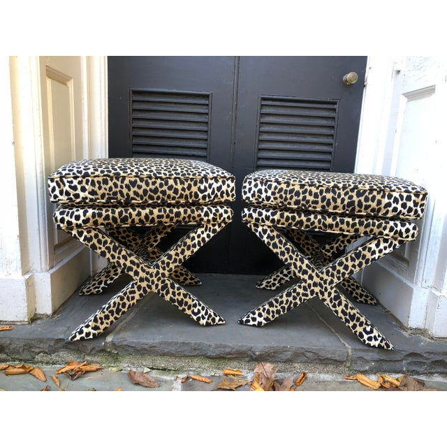 Textile Mid-Century Modern Leopard Suede Upholstered X Benches - a Pair For Sale - Image 7 of 7