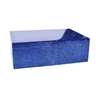 Blue Lapis Lazuli and Marble Stone Rectangular Jewelry or Trinket Box For Sale