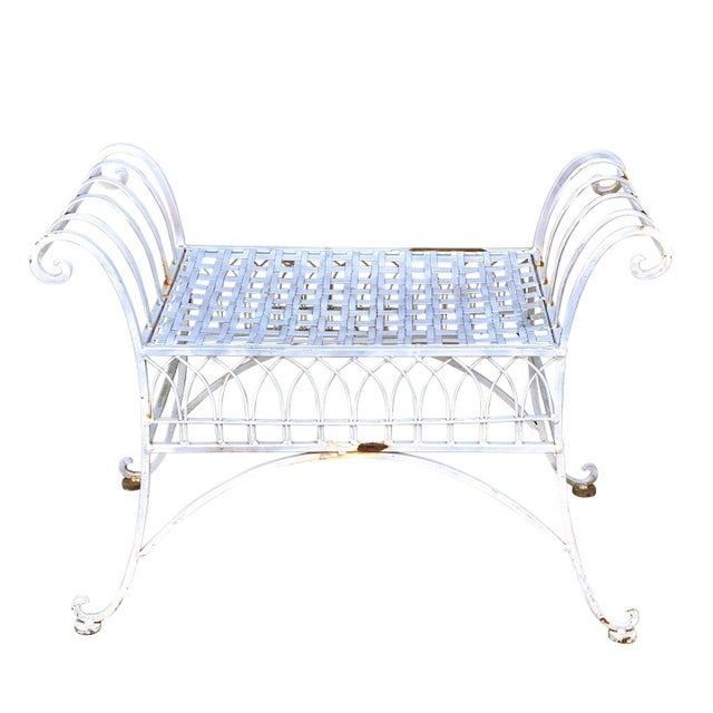 A Victorian White Wrought Iron Patio Garden Bench, United States, c. Mid 20th Century. This piece would look exceptional...