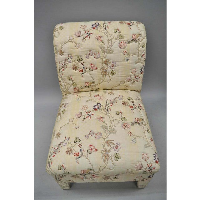 1970s Vintage Upholstered Chinoiserie Slipper Lounge Chairs- A Pair For Sale - Image 5 of 11