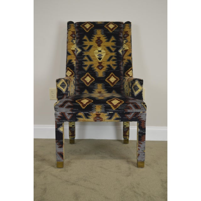 Henredon Vintage Southwood Upholstered Parsons Arm Chair For Sale - Image 9 of 13