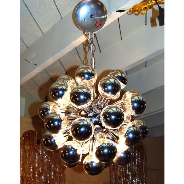 "Chrome sputnik chandelier with 32 half silver top light bulbs Dimension without chain h 18"" Diam 15"""