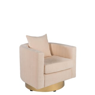 Art Deco Irina Cream Swivel Barrel Chair For Sale