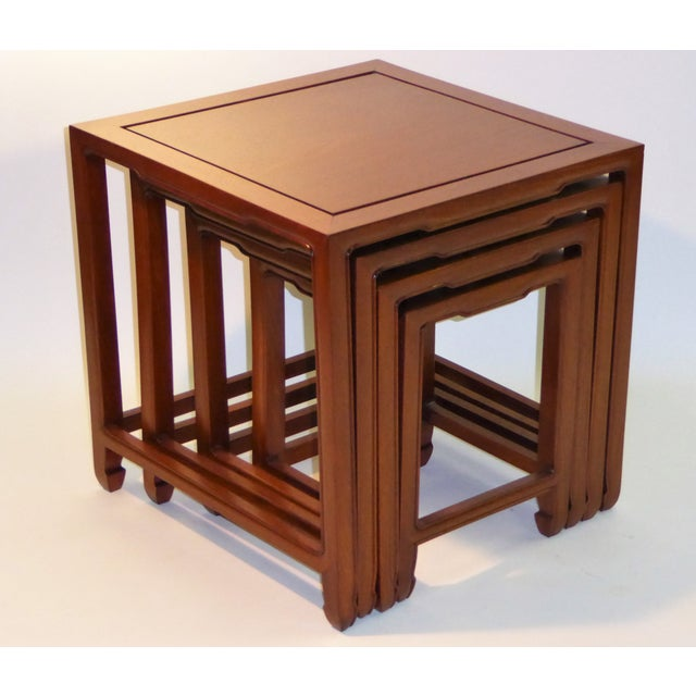 Baker Furniture Company 1970s Vintage Baker Far East Collection Style Teak Nesting Tables - Set of 4 For Sale - Image 4 of 12