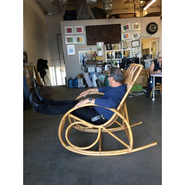 Restored Oversized Stick Rattan Rocking Chair in the Style of Franco Albini For Sale In Los Angeles - Image 6 of 12
