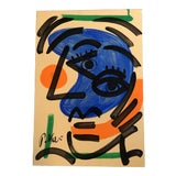 Image of Original Vintage Peter Robert Keil Abstract Face Painting 1980's For Sale