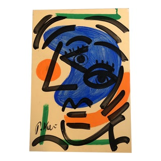 Original Vintage Peter Robert Keil Abstract Face Painting 1980's For Sale
