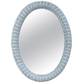 Large Vintage Oval Wicker Mirror For Sale