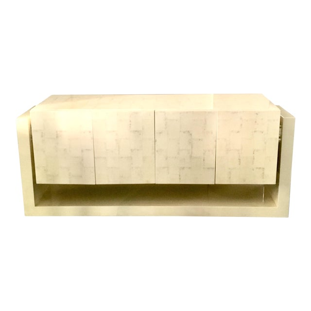 Karl Springer Style Faux Bone Floating Credenza - Image 1 of 11