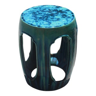 Chinese Round Open Green Ceramic Clay Garden Stool Table For Sale