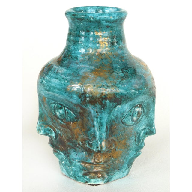Cubism Edouard Cazaux French Mid-Century Ceramic Vase With Faces For Sale - Image 3 of 10