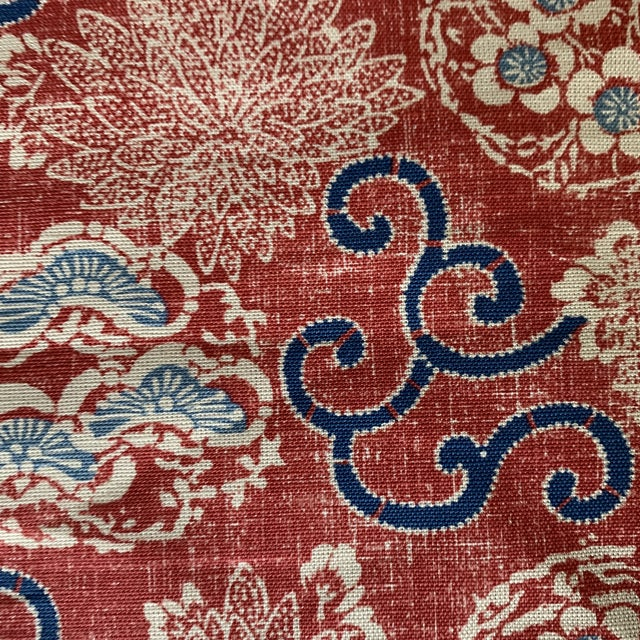 Quadrille Burger Red and Blue Hand Print Faerie Linen Fabric- 7 1/2 Yards For Sale - Image 4 of 7