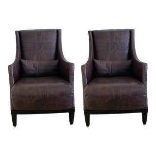 Smania Leather Study Chairs - a Pair For Sale