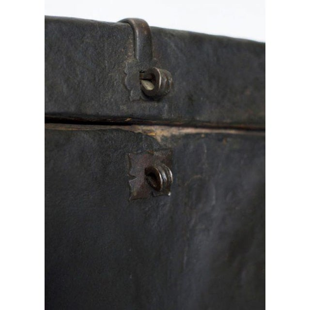 Rustic Tibetan Black Wood Leather & Iron Trunk For Sale - Image 3 of 5