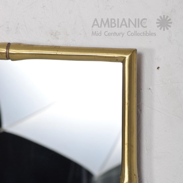Brass Hollywood Regency Faux Bamboo Brass Mirror Frame For Sale - Image 7 of 9