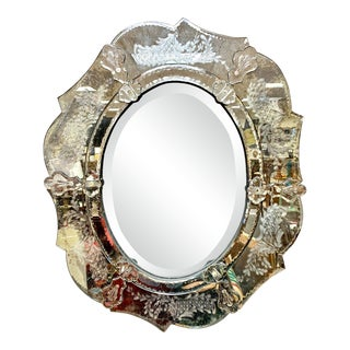 Antique Venetian Oval Mirror For Sale