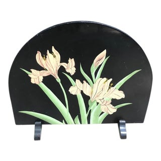 1970s Hollywood Regency Black Painted Lily Fireplace Cover / Screen For Sale