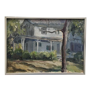 Vintage Oil on Canvas of Old House With Contemporary Silver Frame For Sale