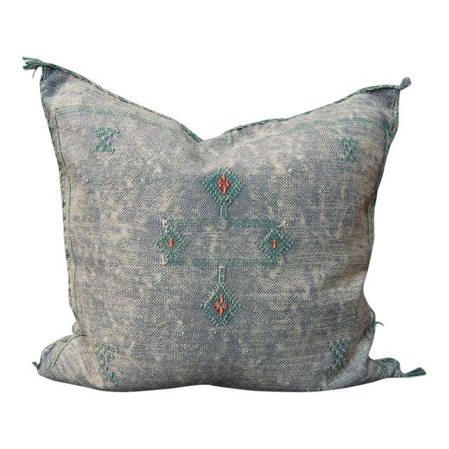Denim Demon' Moroccan Sabra Silk Pillow For Sale