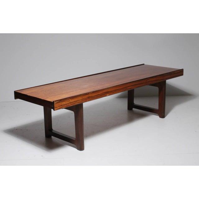 Bruksbo Danish Modern Bruksbo Short Rosewood Bench Coffee Table For Sale - Image 4 of 5