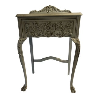1940s French Country Hand Painted One Drawer Table For Sale