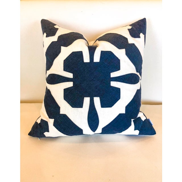 White With Navy Geometric Print Pillow For Sale In Little Rock - Image 6 of 6