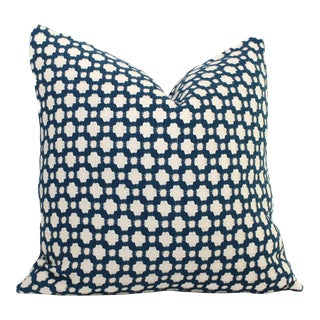 "20"" x 20"" Schumacher Betwixt in Indigo Decorative Pillow Cover For Sale"