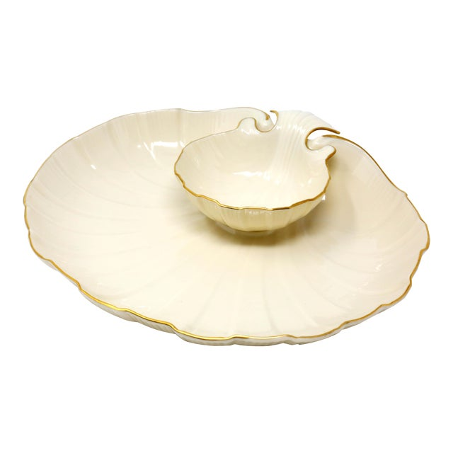 "Lenox ""Aegean"" Gold-Rimmed Shell Dip Bowl For Sale"
