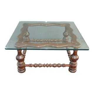 Vintage Spanish Style Glass Top Turned Wood Coffee Table For Sale