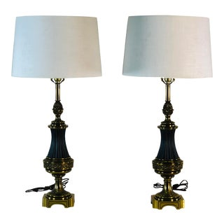 Hollywood Regency Brass Stiffel Table Lamps, Pair For Sale