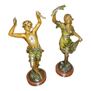 19c Pair of Bronzed Spelter Sculptures After Auguste Moreau For Sale