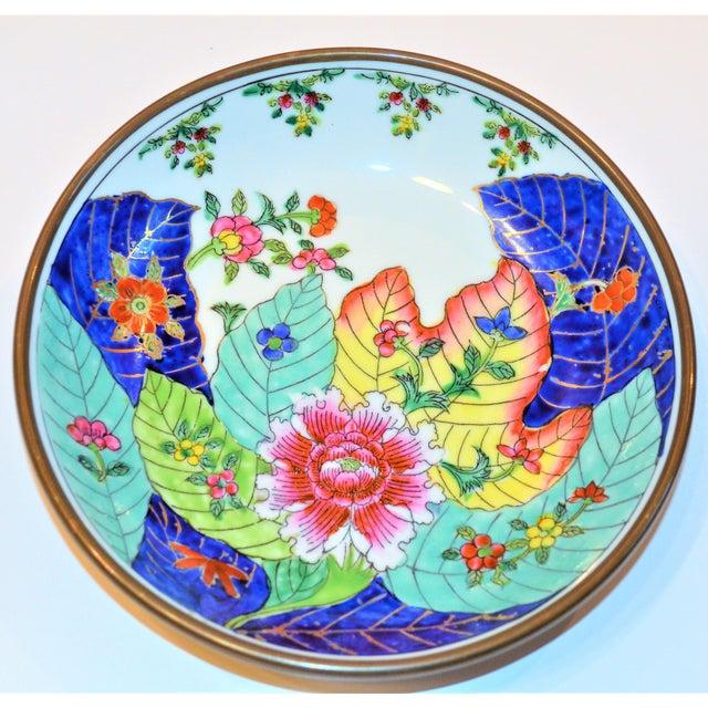 1980s Vintage Tobacco Leaf Porcelain and Brass Bowl For Sale - Image 9 of 13