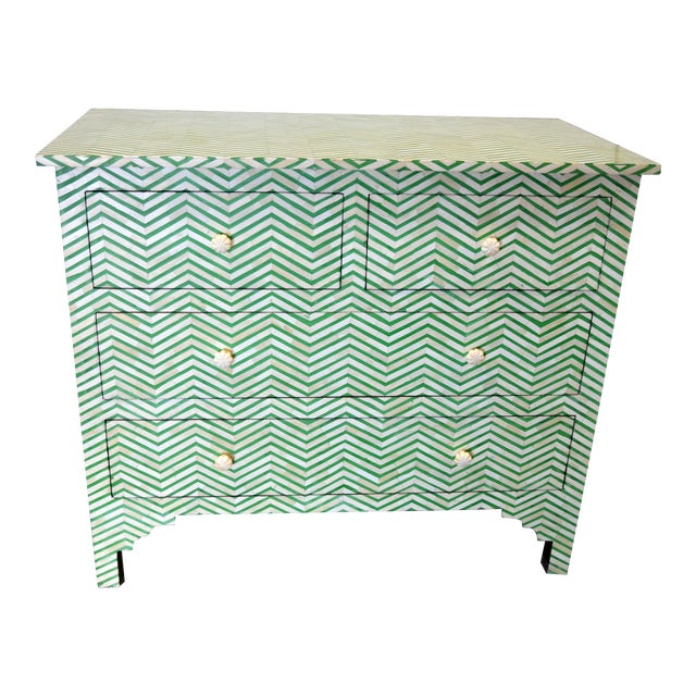 4-Drawer Bone Inlay Chevron Pattern Chest of Drawers For Sale