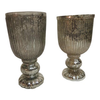 Vintage Mercury Glass Vases - a Pair