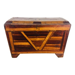 1940s Vintage Handmade Folk Art Chest For Sale