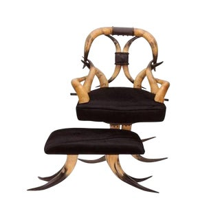 19th-C. Steer Horn Chair & Ottoman For Sale
