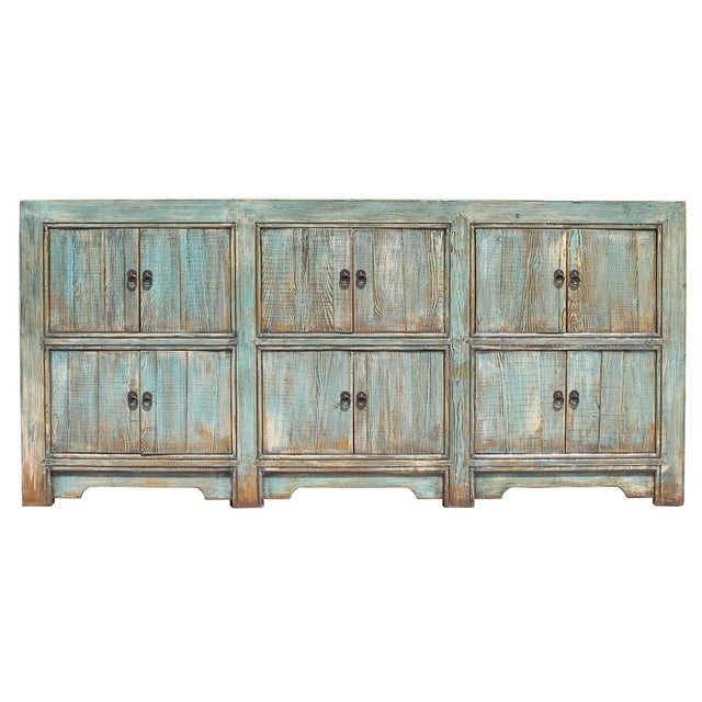 Distressed Rustic Chalk Pastel Blue Sideboard Buffet Table Cabinet For Sale In San Francisco - Image 6 of 8