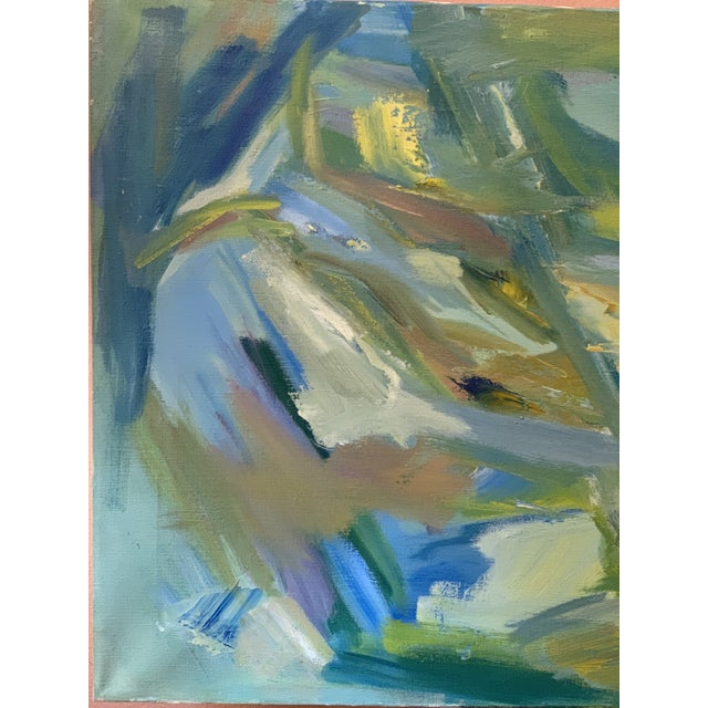 """Abstract Mid-Century Modern Abstract Oil Painting on Canvas """"Venice"""" 1964 For Sale - Image 3 of 11"""
