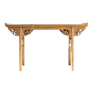 Chinese Raw Wood Dragon Carving Altar Console Table For Sale
