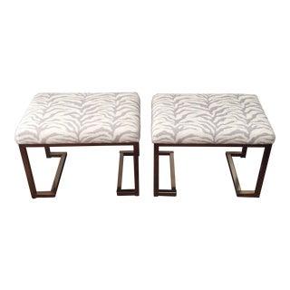 Modern Zebra Fabric Stools - A Pair