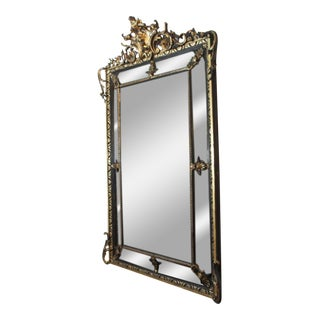 Antique French Giltwood & Ebonized Mirror For Sale